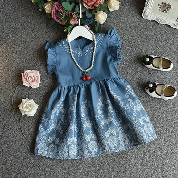 Embroidery Denim Ropa Ninas Party Pageant Princess Dress