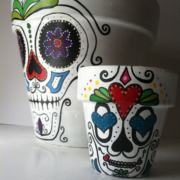 "Day of the Dead 6"" flower pot planter Sugar skull catrina Halloween decor succulent garden hand painted terra-cotta pot skeleton mask"
