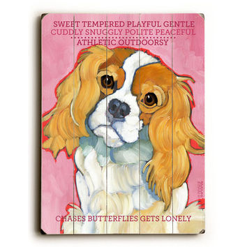 Cavalier King Charles by Artist Ursula Dodge Wood Sign