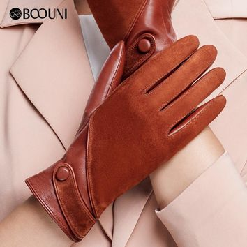 BOOUNI Genuine Leather Gloves Fashion Women Suede Sheepskin Glove Thermal Winter Velvet Lining Driving Gloves NW563