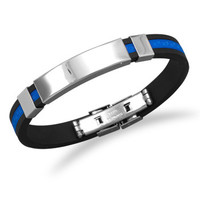 "8"" Stainless Steel and Blue Rubber ID Men's Bracelet"