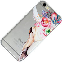 WaterColor Cow Skull With Roses Flowers Floral, Clear Phone Case, iPhone Case, iPhone 6, iPhone 7, iPhone SE, 6 Plus, 7 Plus, 6S, 5, 5C, 5S,