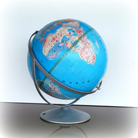 VINTAGE TRAVEL - Mid Century World Globe - 12 Inch Blue Rotating Axis Globe - Vintage Desk Accessories - Concept Maps and Globes