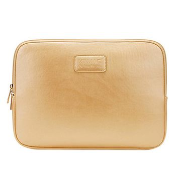 Simple Style Leather Laptop Sleeve Zipper Case Cover 14 Inch GOLD Computer Bag