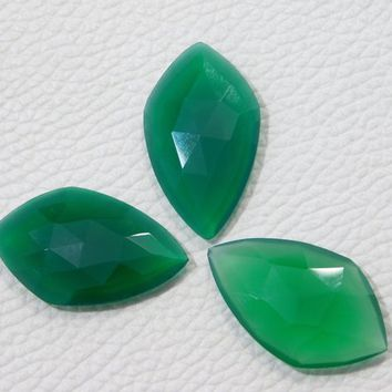 29x17x4 MM Approx 3Pcs Natural Green Onyx Faceted Gemstone Loose Onyx Cabochon 29.00 Ct Green Onyx Matched Pair Super Quality Onyx Faceted
