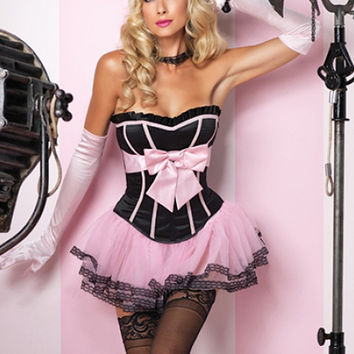 Leg Avenue Lingerie 86560 Marilyn Corset: Black Satin Corset with Support Boning, Side Zip & Oversized Satin Bodice Bow