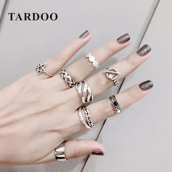 TARDOO Stylish Mix Match Genuine Silver Rings for Women 925 Sterling Silver Adjustable Cuff Ring Sets Fine Jewelry