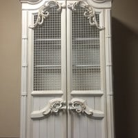 VintageVintage  French Provincial /Country French Cottage Armoire/ Linen cabinet