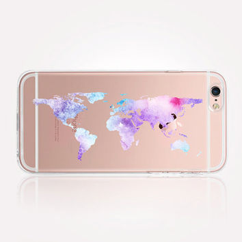Transparent Watercolor World Map iPhone Case - Transparent Case - Clear Case - Transparent iPhone 6 - Transparent S7 - Transparent iPhone 4