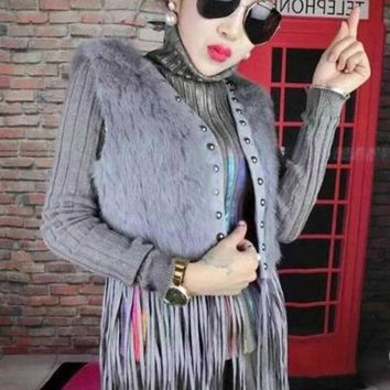 2017 autumn and winter new fur vest women short paragraph imitation rabbit vest Korean loose thin fashion fur vest