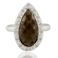 Handmade Smoky Quartz And Cubic Zirconia Sterling Silver Ring