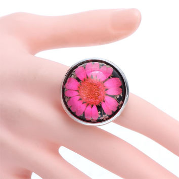Resizable Dried Pressed Flower Glass Silver Plated Adjustable Ring for Men Women Gift