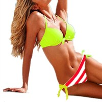 iecool Women's Classic Style Striped Push Up Bikini Swimsuit Swimwear Small Fluorescent Green