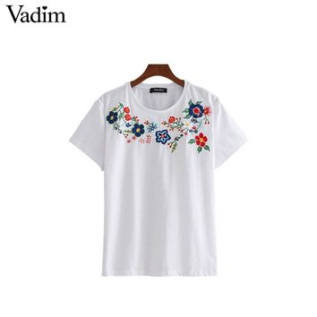Women sweet floral embroidery T shirt short sleeve o neck tees ladies summer casual loose tops