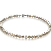 Bliss White 6-7mm A Quality Freshwater Pearl Necklace-16 in Chocker length