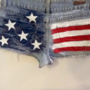 American flag shorts. Pink White and Blue Star Spangled. Size 1