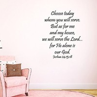 Wall Decals Vinyl Decal Sticker Lord God Quote Choose Today Whom You Will Serve We Will Serve the Lord Home Interior Design Art Murals Living Room Bedroom Decor