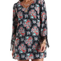 Crochet-Cuffed Floral Shift Dress by Charlotte Russe