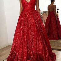 Evening Dress V Neck Red Glitter Long Prom Dress Backless