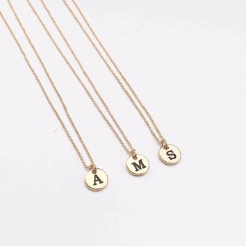 Custom Personalized Alphabet A to Z Disc Letters Initial Name Chain Necklace Couple Pendant Jewelry Fashion Love Gift