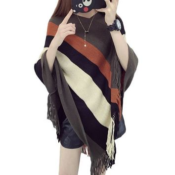 [13902] Women Fringe Loose Shawl Knit Sweater