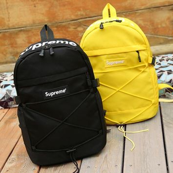 Supreme Fashion Casual Sport Daypack Bookbag Shoulder Bag Travel Bag School Backpack Black G