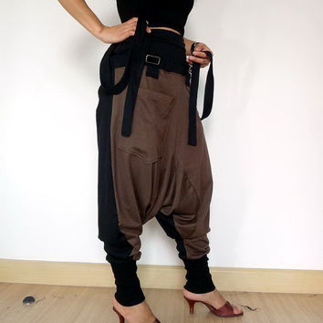 Extra Large Trousers Bib Ninja Pants Suspender, Gaucho Unisex, Ribbed Cotton,Two Tone Brown/Black Colour.