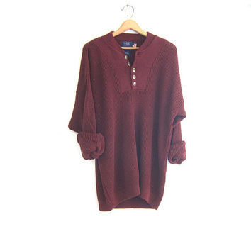 20% OFF SALE Vintage oversized henley sweater. Maroon front button pullover. cotton knit. Men's sizeXL