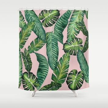 Jungle Leaves, Banana, Monstera II Pink #society6 Shower Curtain by wheimay