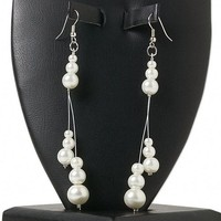 "Handmade White Graduated Glass Pearl Triple Dangle 4"" Long Dangle Earrings"