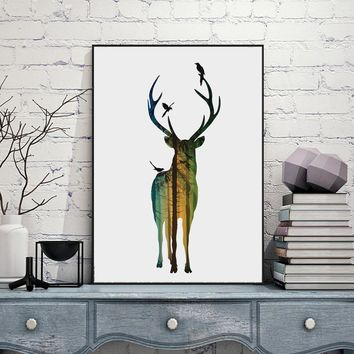 silhouette of a deer with pine forest Canvas Art Print Painting Poster,  Wall Picture for Home Decoration, Home Decor FA396-3
