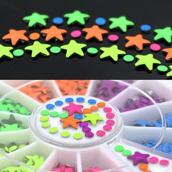 Neon Color  Star and Half Round Metal Studs Nail Art Salon Stickers  Tips  DIY Decorations with  Wheel 5W3E 7H6X 8WDK