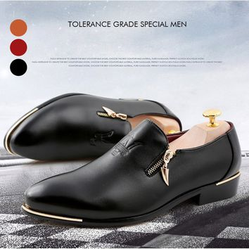 men pointed toe zipper slip-on lazy shoes men business formal office shoes