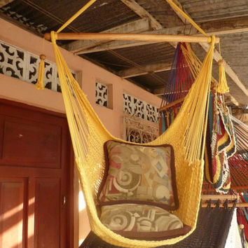 Yellow Sitting Hammock Hanging Chair Natural Cotton by hamanica