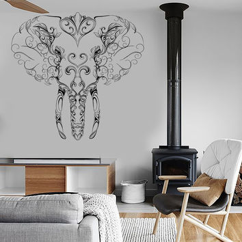 Wall Vinyl Sticker Decal Elephant Tusks Head Patterns Flowers Character Contemporary (ed410)