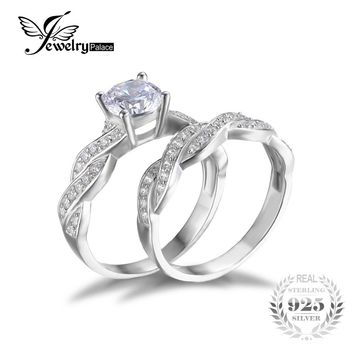 JewelryPalace 1.5ct Infinity Anniversary Promise Wedding Band Engagement Ring Bridal Sets 925 Sterling Silver