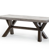 Metro Rustic Reclaimed Wood and Concrete Rectangular Dining Table 79""