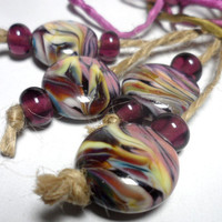 Lampwork. Glass bead handmade. Beads colorful, amethyst, pink, purple.