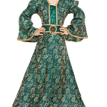 Green and Gold Brocade Luxury Steampunk Childrens Girls Dress
