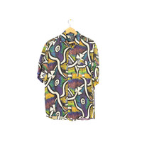 80s mens silk shirt / vintage 1980s / wild abstract colorful rainbow art pattern /  L