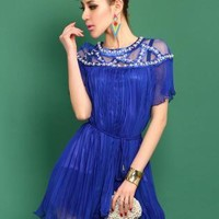 Blue Beading Pleated Dressb S010528