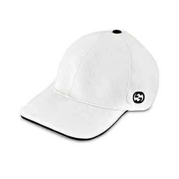 Gucci Cotton Canvas With GG Detail Baseball Cap, White 387554