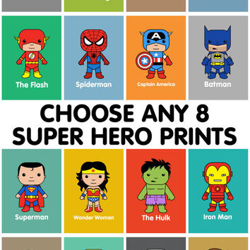 Super Hero Wall Art, Kids Wall Art, Batman, Superman, Spiderman, Marvel