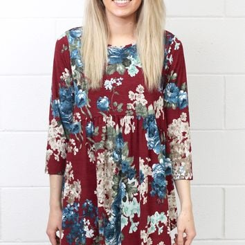 Walk in the Park Floral Babydoll Tunic {Burgundy Mix}