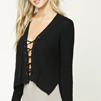 Boxy Lace-Up Sweater