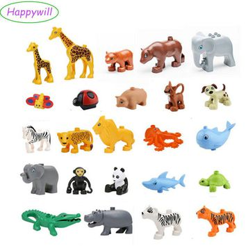 Happywill Animals Blocks Toys Compatible Giraffe Elephant Panda Lion Monkey Crocodile Hippo Octopus Penguin Tiger Whale Shark