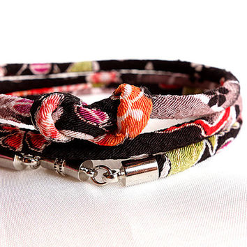 Kimono Bracelet, Necklace, Japanese chirimen fabric cord, Elegant Sakura moss green on black - HANA MORI -