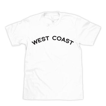 West Coast White T-shirt Soft Shirt Womens Heat Press Crew Neck