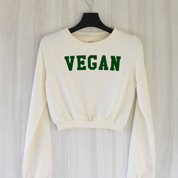 Vegan Crop Top Sweatshirt Sweater Shirt – Size S M L