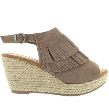 Minnetonka Ashley   Taupe Suede Double Front Fringe Espadrille Platform/wedge Sandal